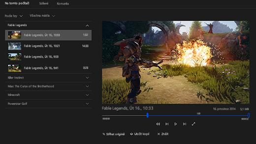 Snímek obrazovky s panelem Hra