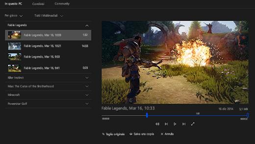 Screenshot della barra dei giochi