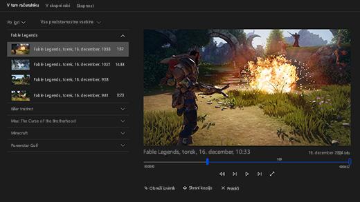 Posnetek zaslona z vrstico za igre