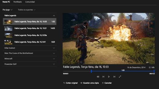 Captura de ecrã da Barra de jogo