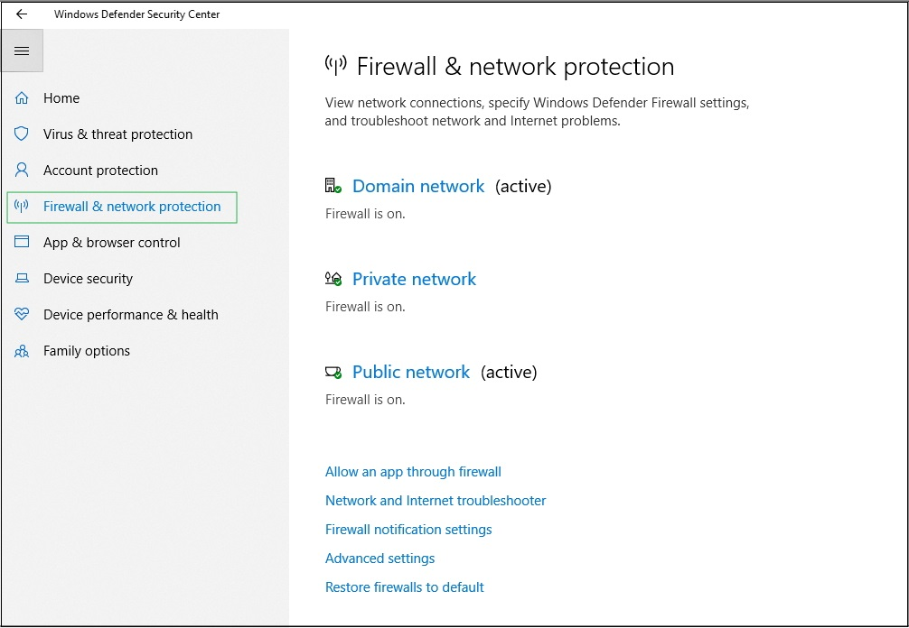 Screenshot of Firewall and network protection settings