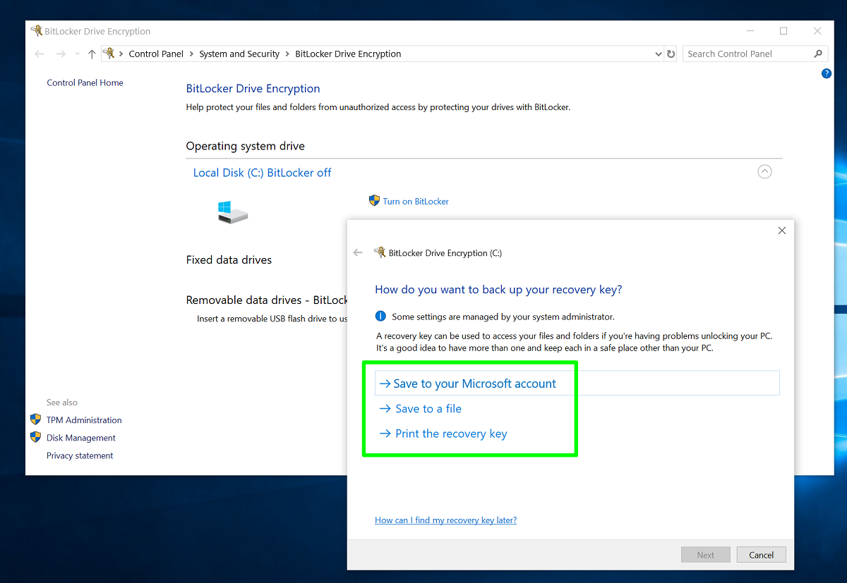 Screenshot of Microsoft Account BitLocker recovery key page