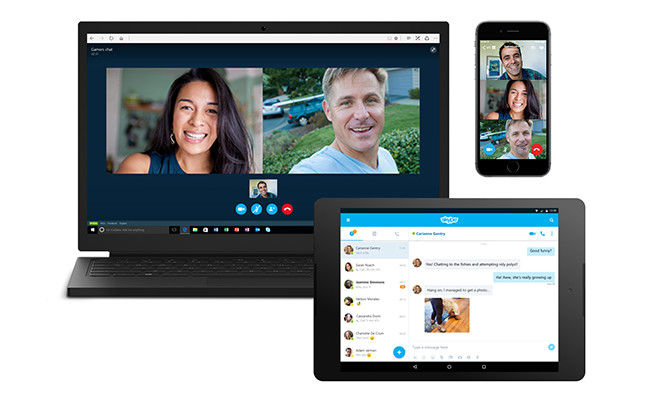 A laptop, tablet and phone all using Skype; more ways to connect with Skype.