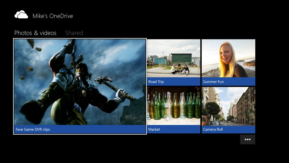 OneDrive Photos & videos within Xbox One app