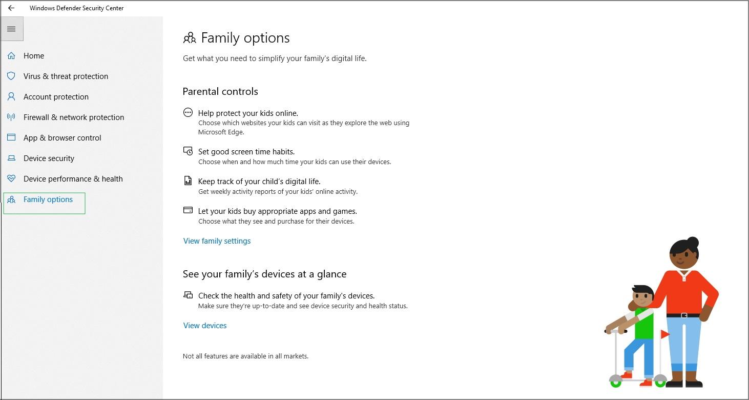 Screenshot of Family options settings