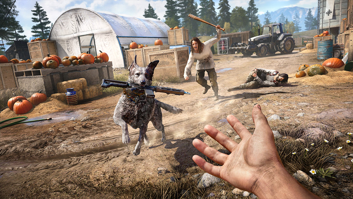 A dog carries a gun in its mouth to the player.