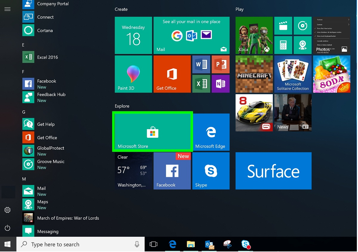 Screenshot of Windows Start menu