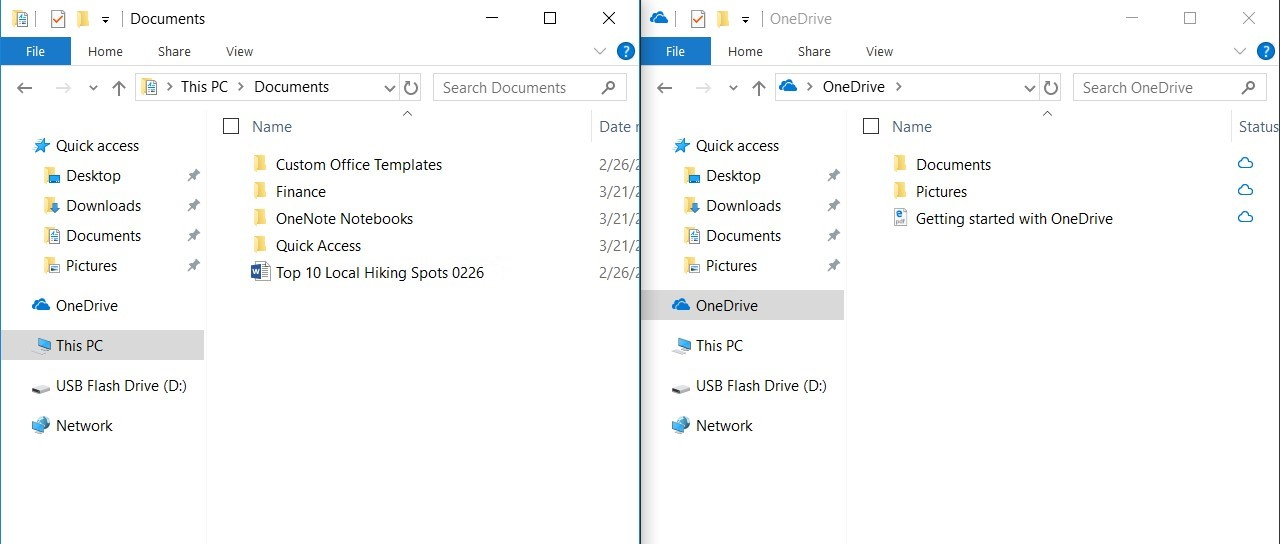Documents folder in the File Explorer and OneDrive