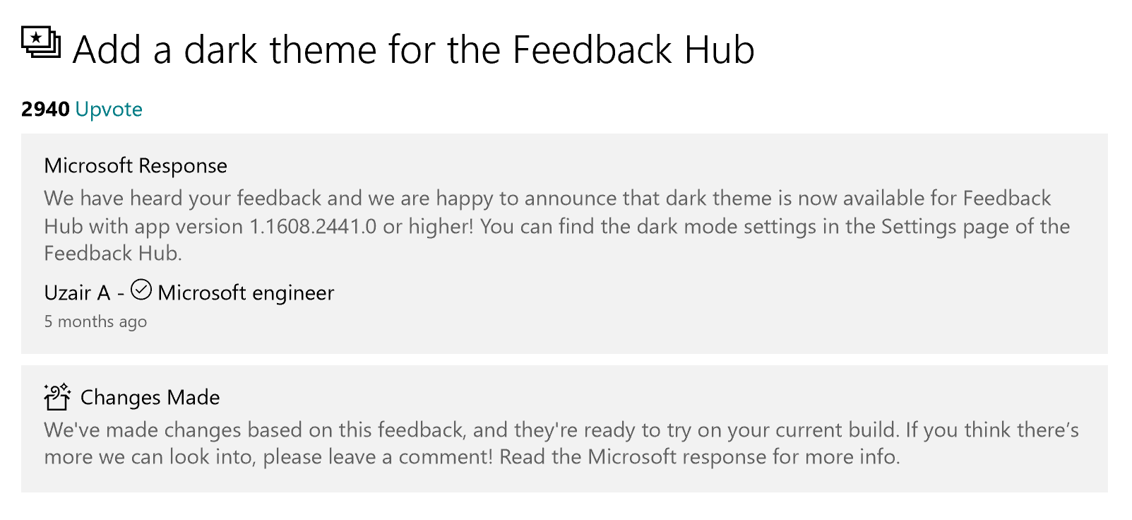 Microsoft Response to Add a dark theme for the Feedback Hub