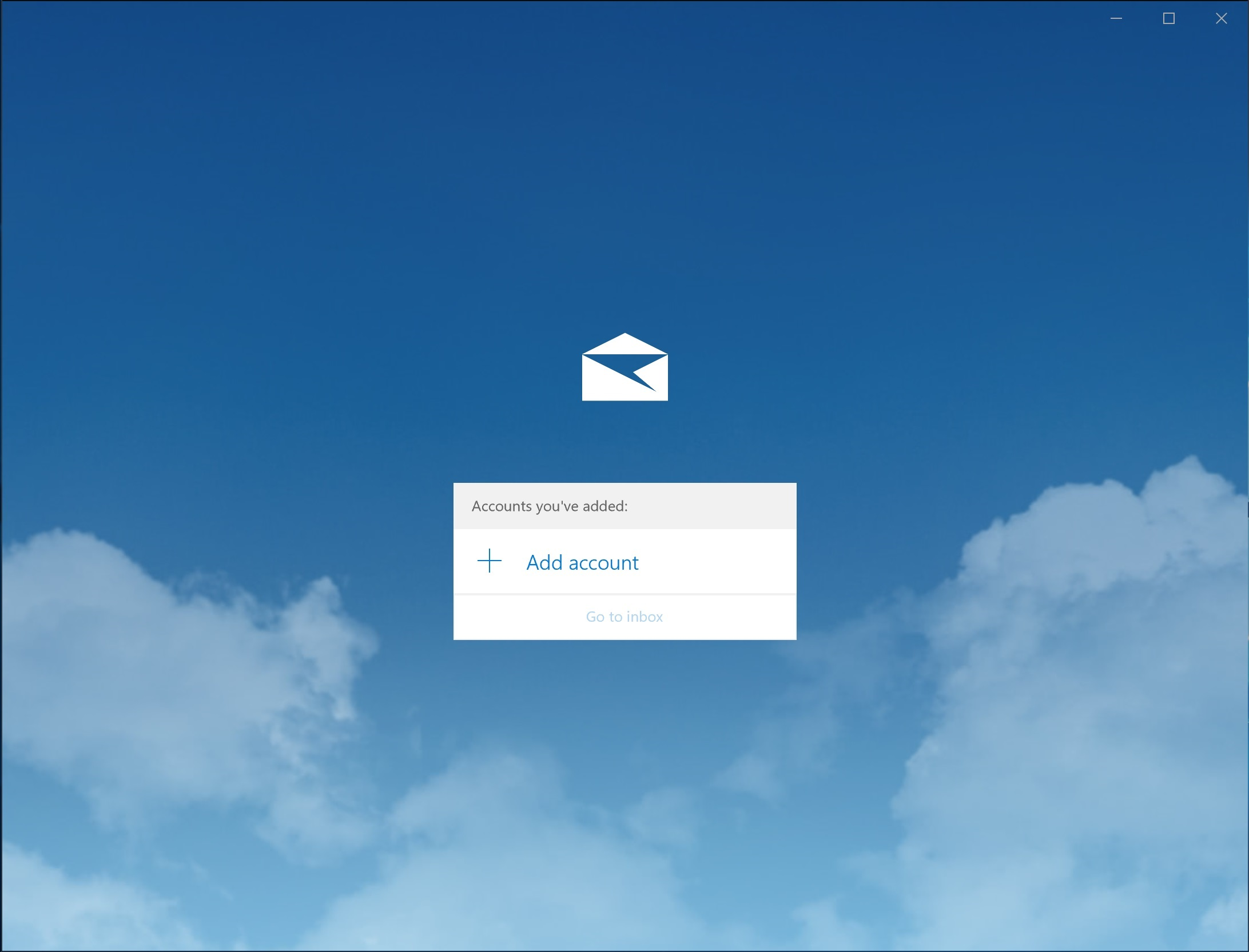 Screenshot of Mail app set up