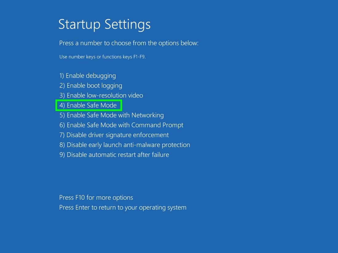 Safe mode startup settings enable