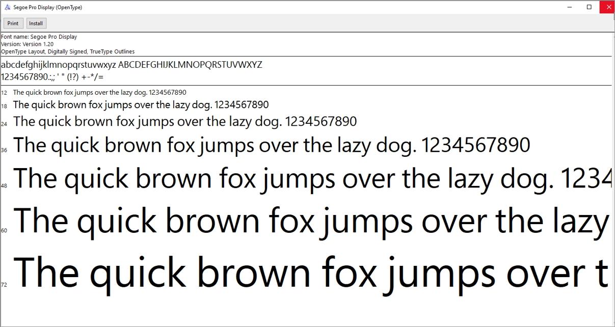 Segoe Pro font display