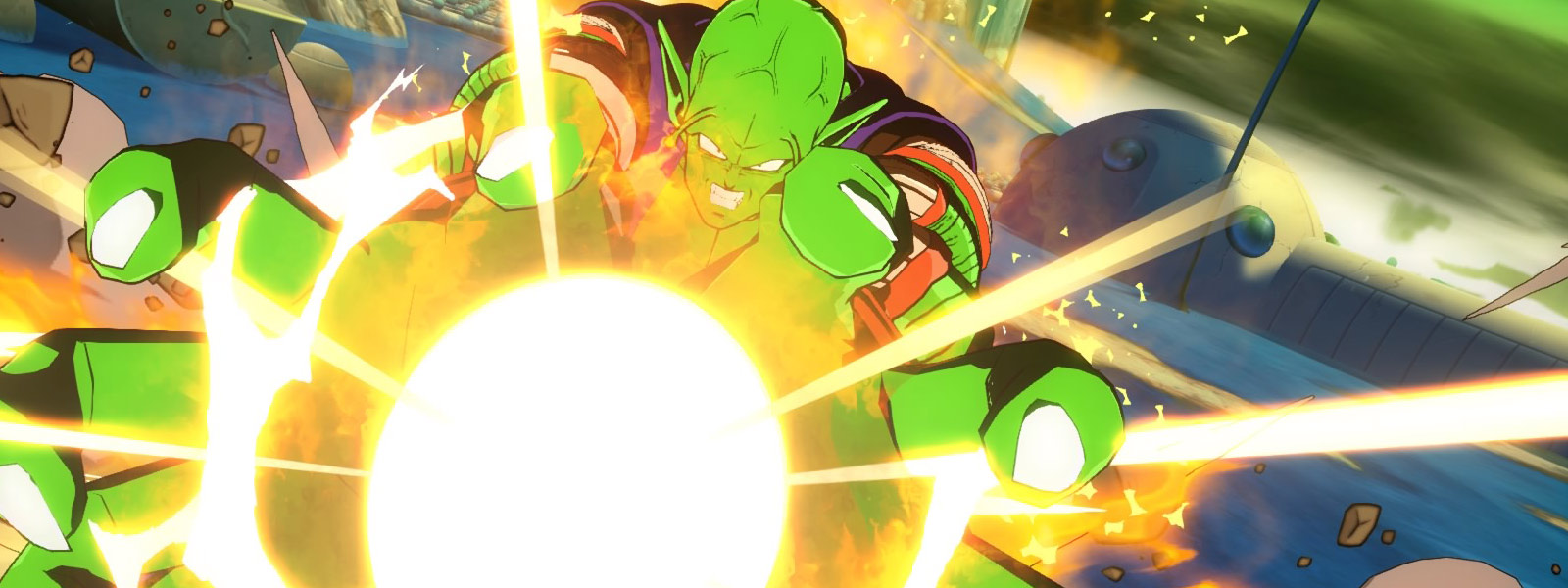 Piccolo launching a fireball with both hands