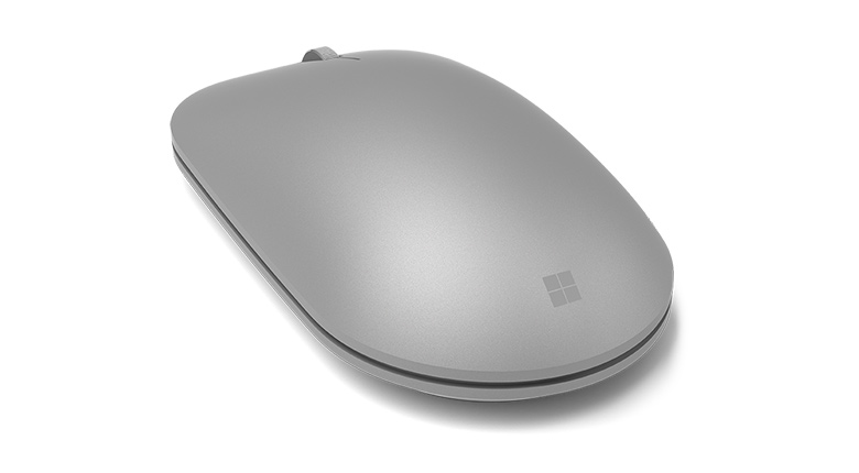 Microsoft Surface Mouse in Gray Quarter Back View