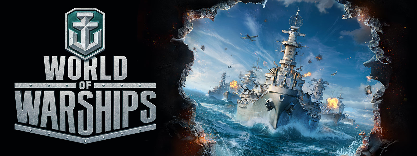 World of Warships, battleships and aircraft carriers open fire across an ocean