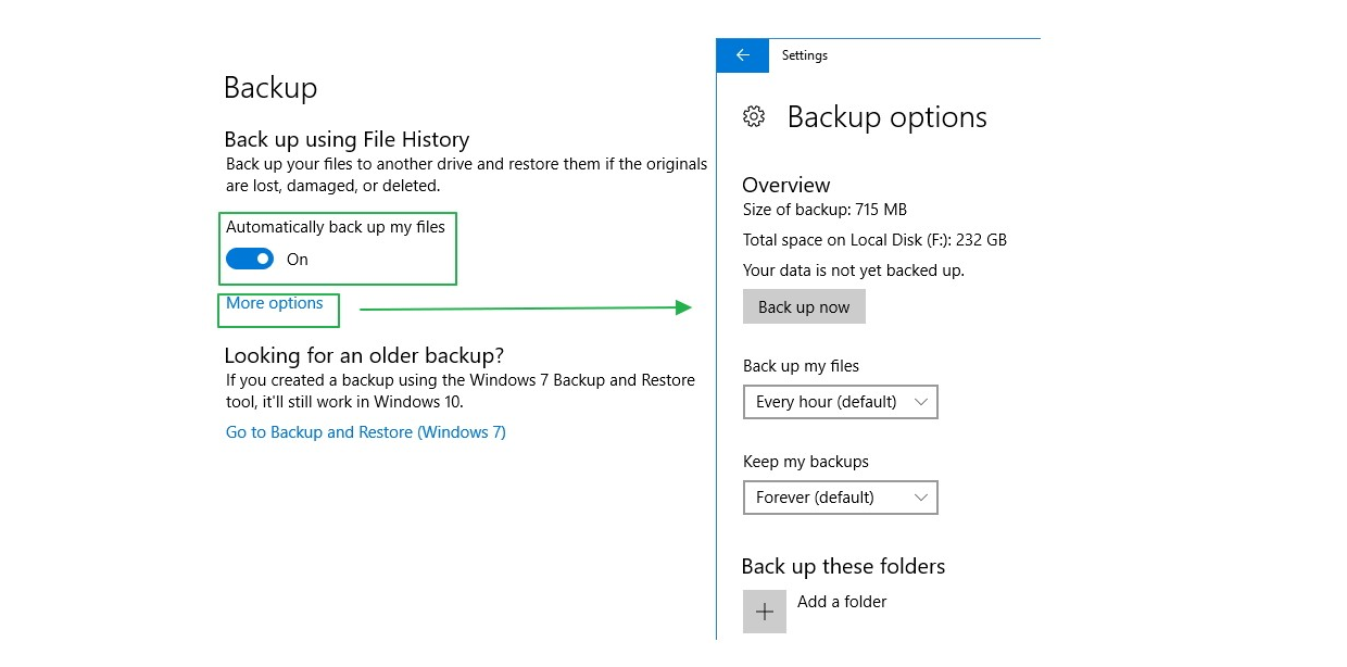 Screenshot of Backup options