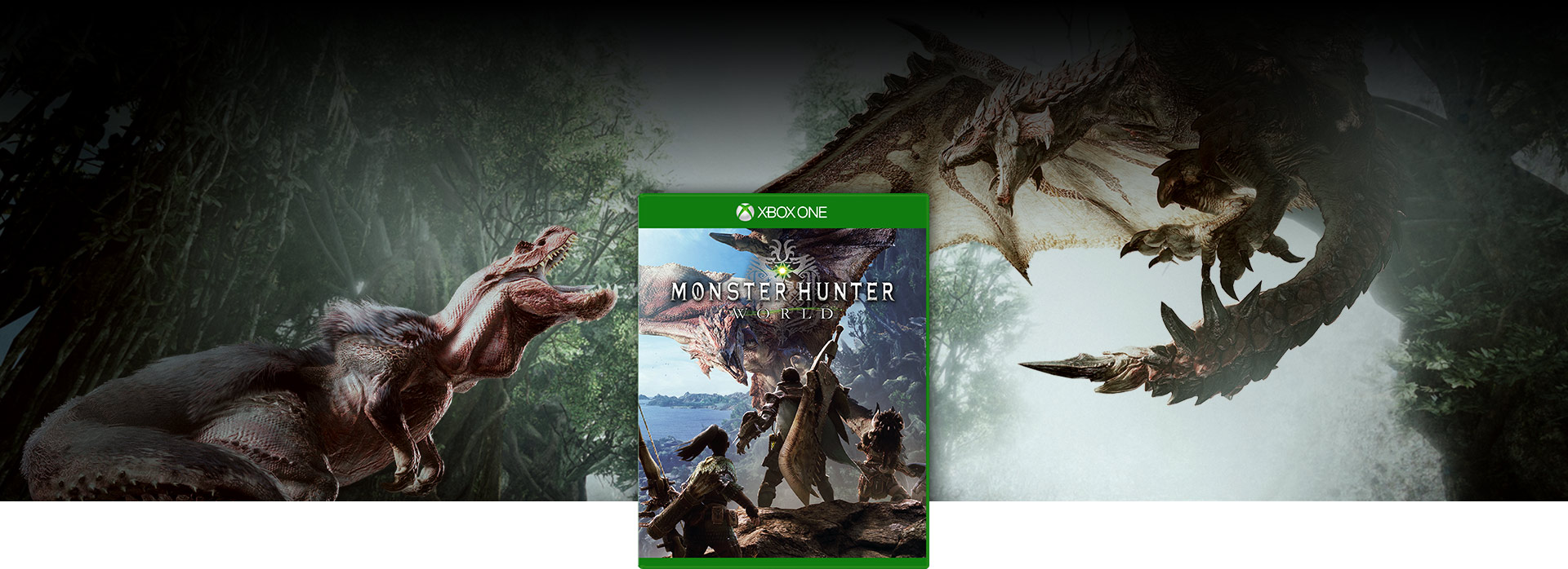 Monster Hunter World boxshot, a flying dragon and a dinosaur are fighting
