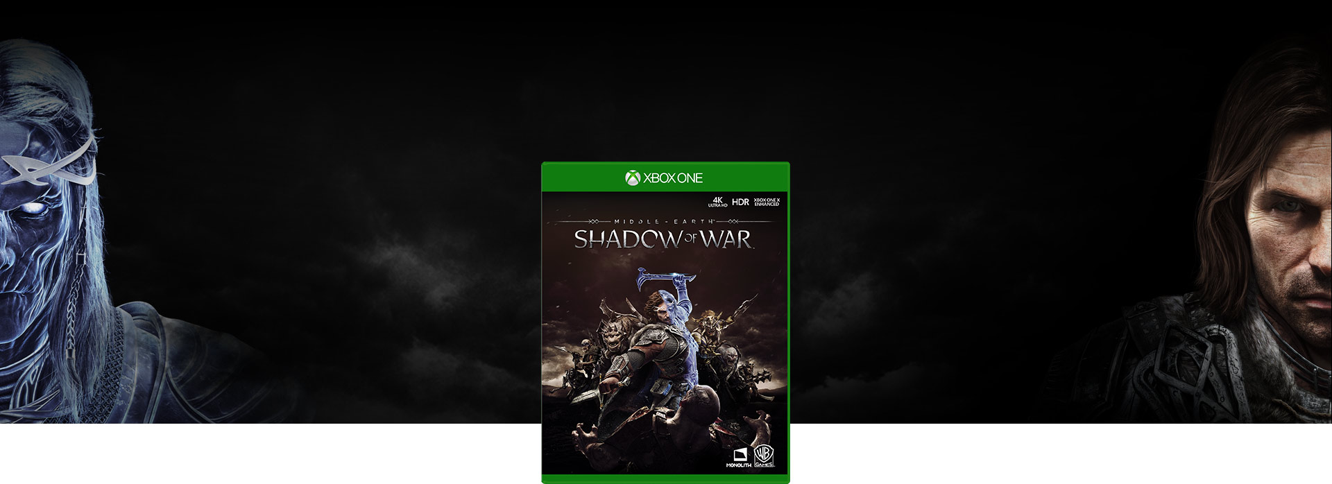 Middle-earth Shadow of War boxshot. Human face and ghost face of Talion opposite each other