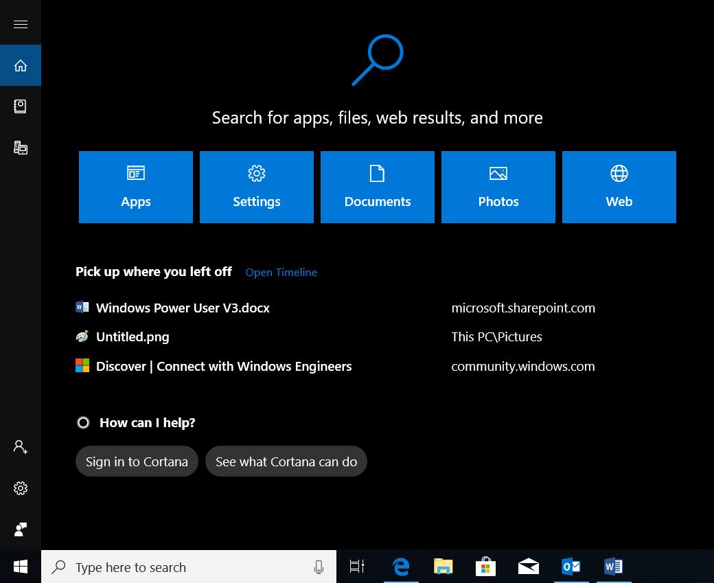 Screenshot of Windows Search