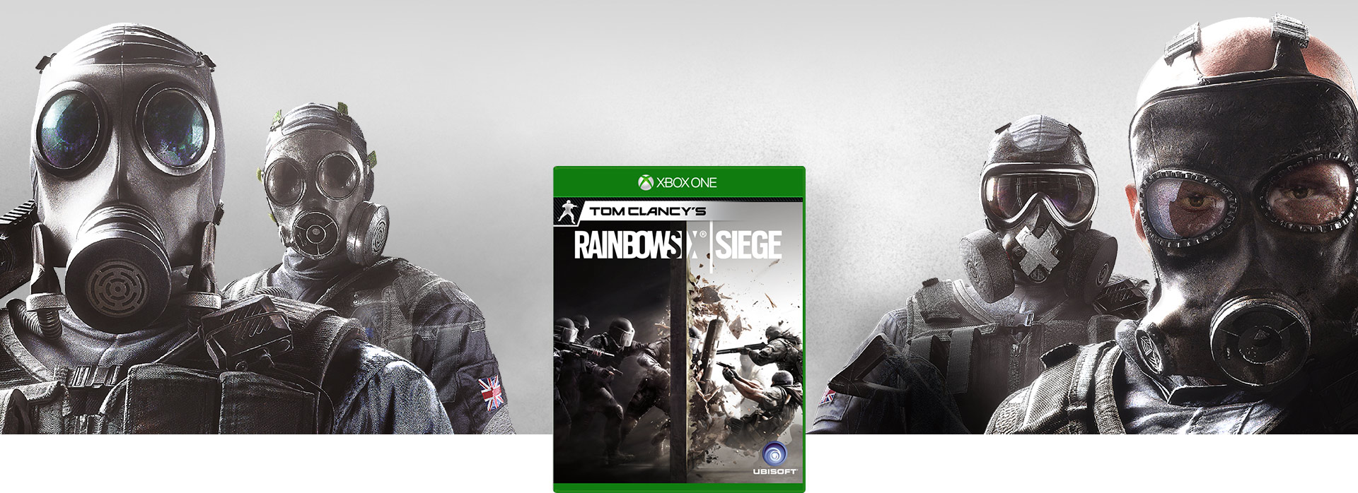 Rainbow Six Siege boxshot, against a background of four terrorists wearing gas masks
