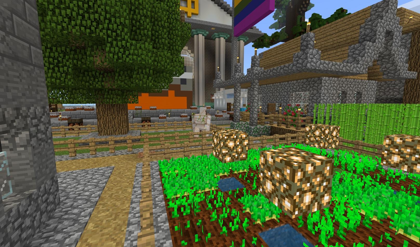 Minecraft urban garden scene