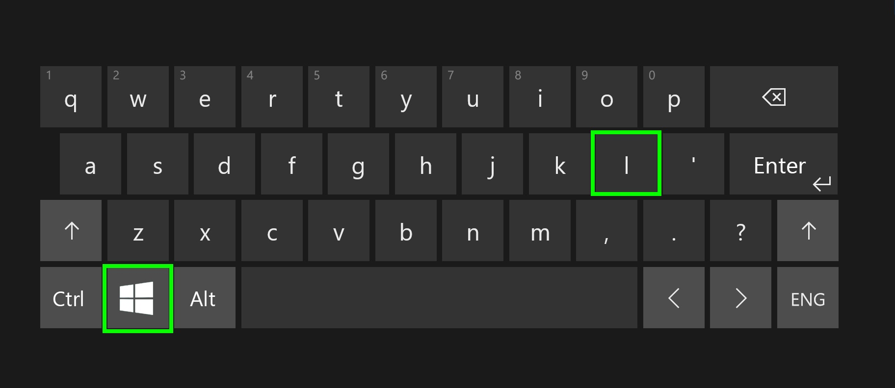 Digital keyboard with highlighted Windows key and L keys