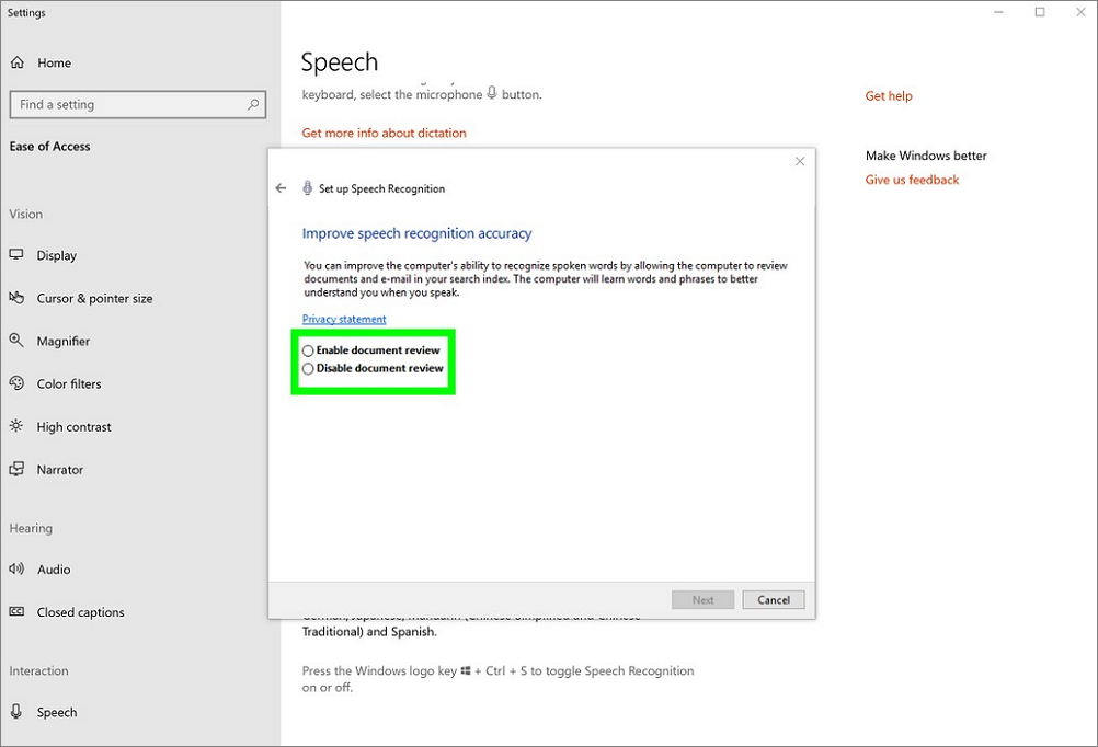 Improve speech recognition acuracy settings