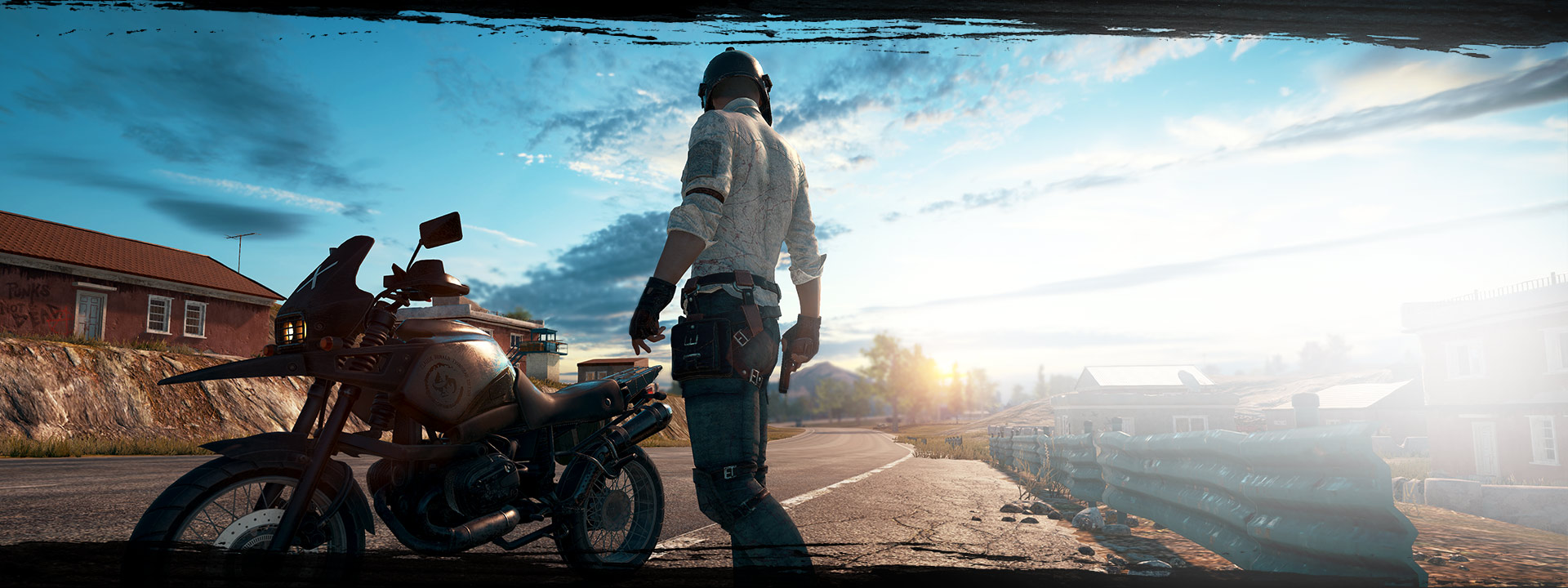 Playerunknowns character standing in front of motorcylce in the street with pistol