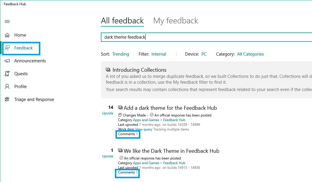 Screenshot of feedback requesting dark theme for Feedback Hub