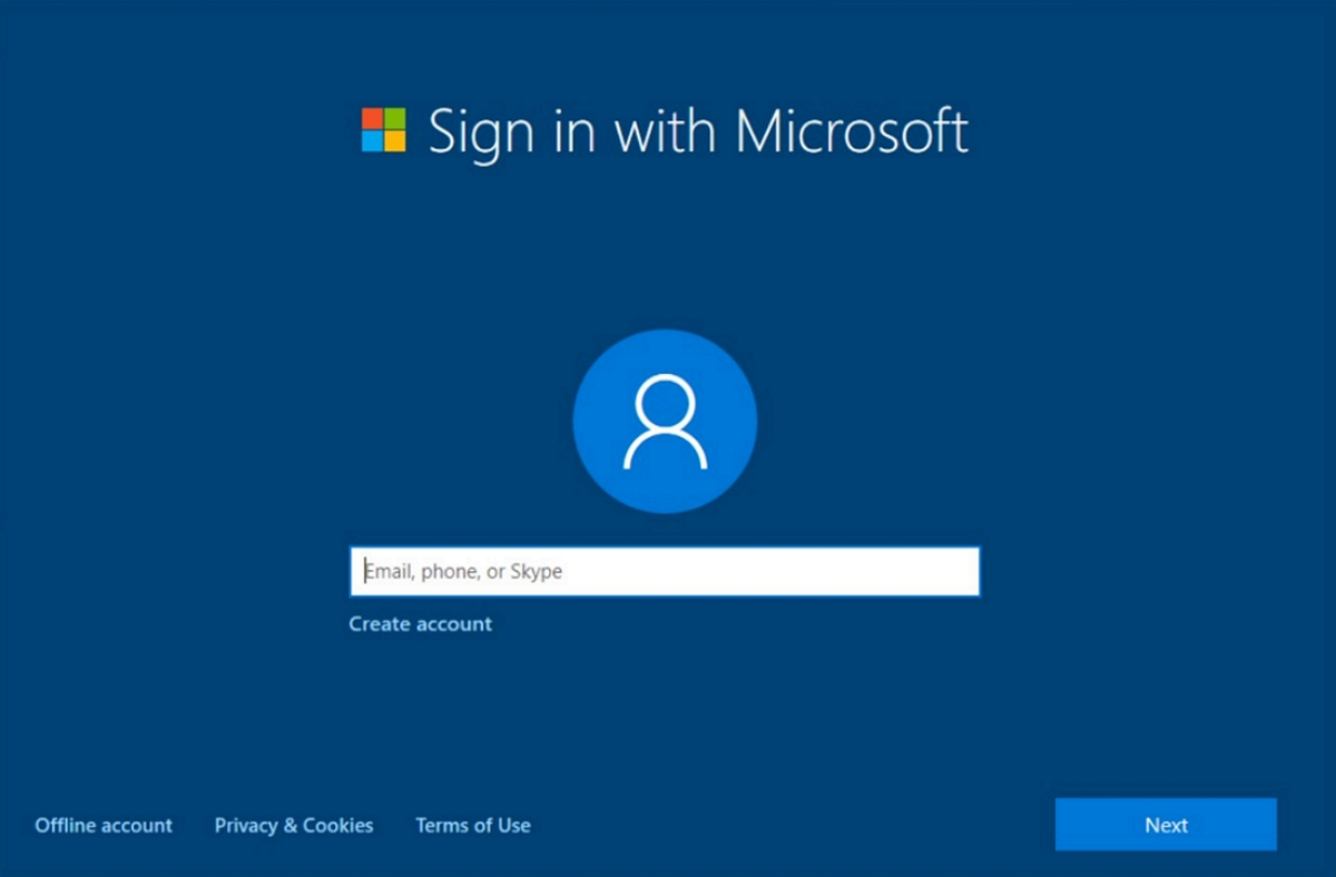 Out of box sign in with Microsoft account