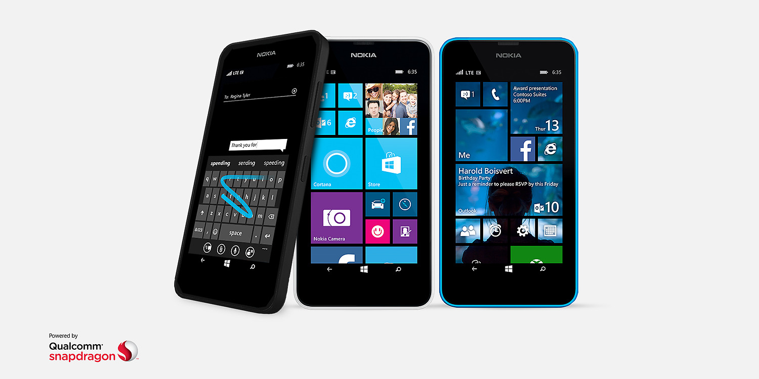 Three black lumia 635 phones with windows starts screens and a