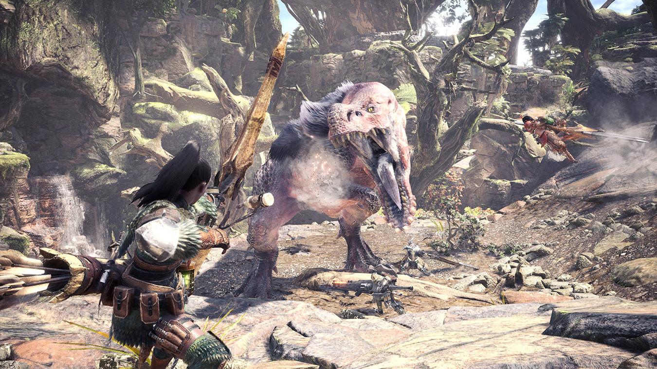 Охотник стреляет в динозавра из лука
