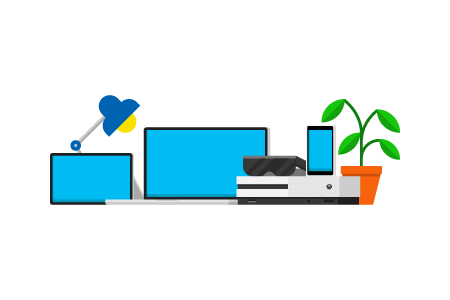 Several devices from a computer to Microsoft Band to an Xbox machine; benefits of a Microsoft account across all your devices.