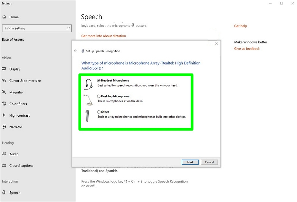 Screenshot of Select microphone setting