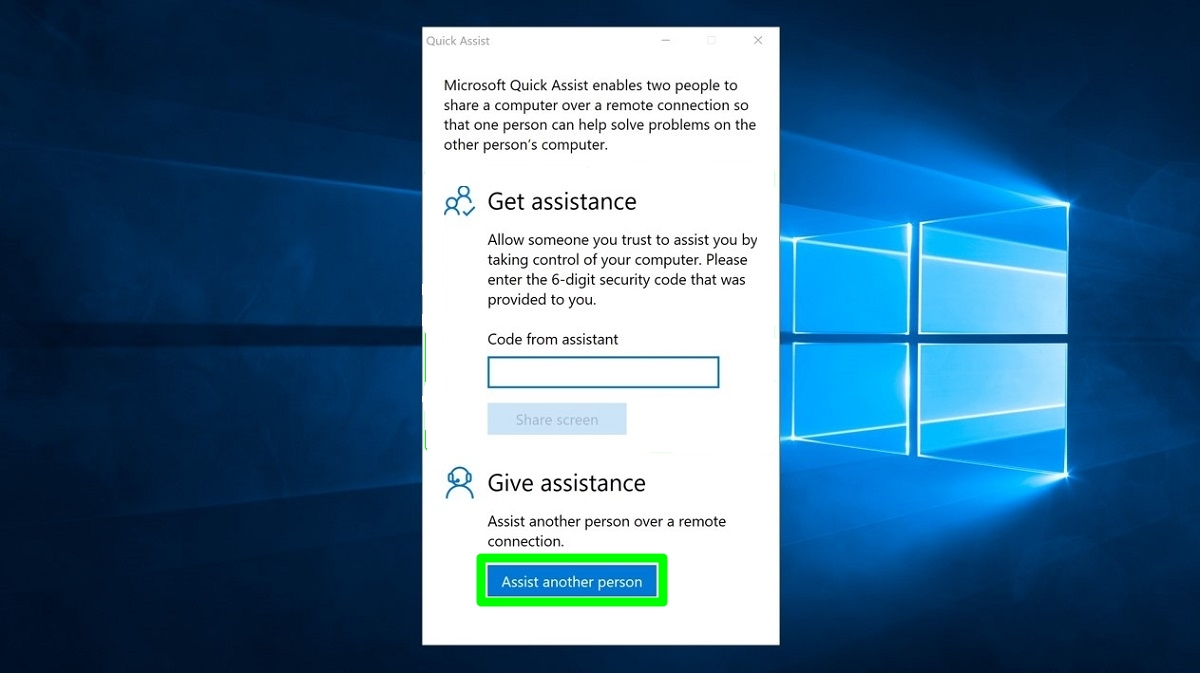 Screenshot of Give assistence with Quick Assist