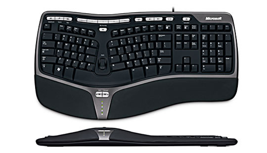 Top and front view of Microsoft Natural Ergonomic Keyboard 4000