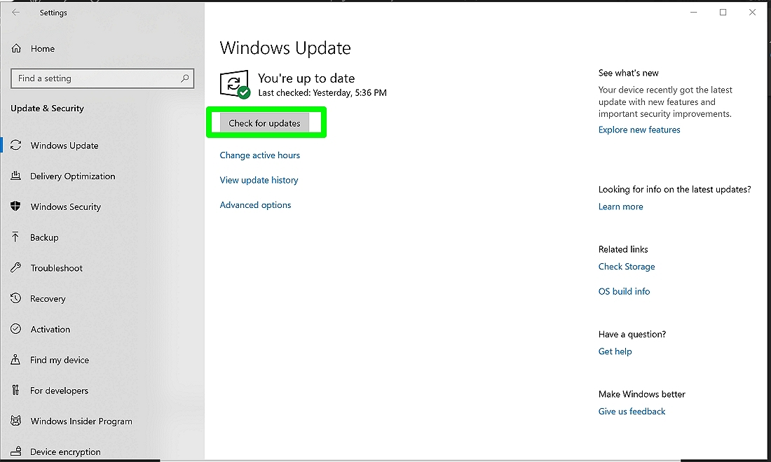 Screenshot of Check for updates in Windows Settings