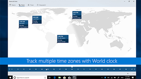 Windows 101: Track multiple time zones with world clock
