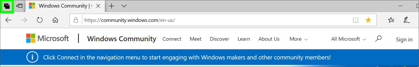 Screenshot of Microsoft Edge See all your tabs button