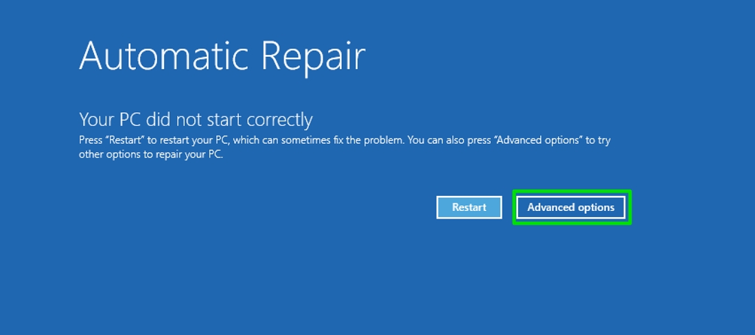 Safe mode automatic repair advanced options
