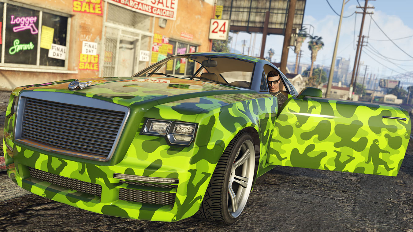character getting out of a camouflage painted car