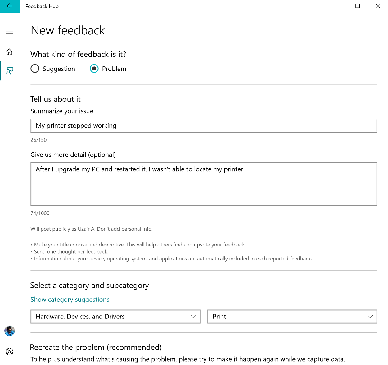 Screenshot showing how to add new feedback