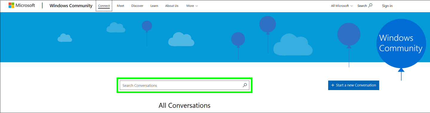 Screenshot of Conversations' search field