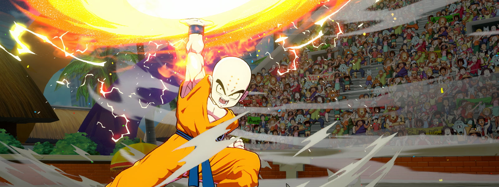 Krillin in a Fighting Pose charging a Destructo Disc