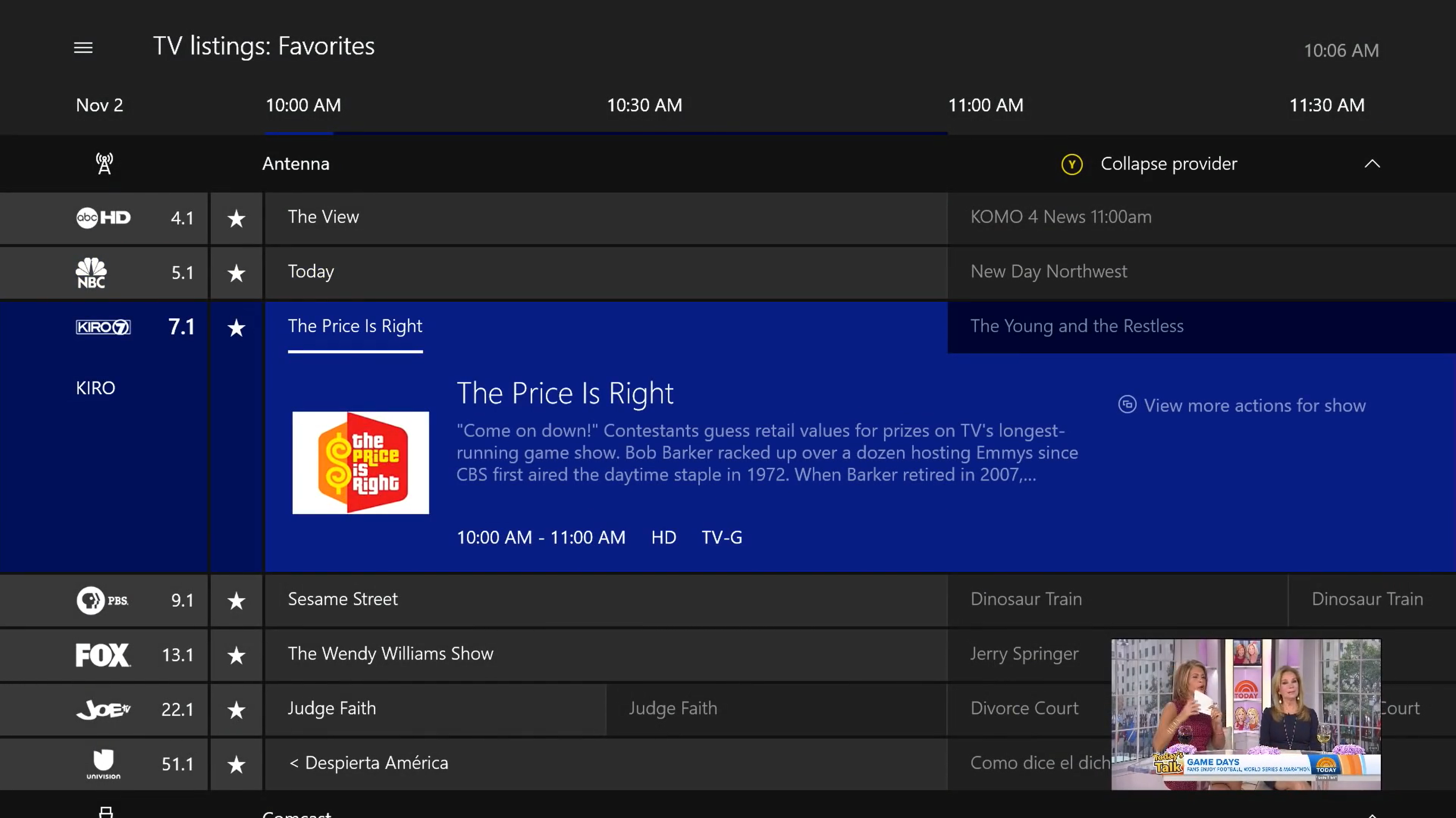 TV listings within Xbox One app