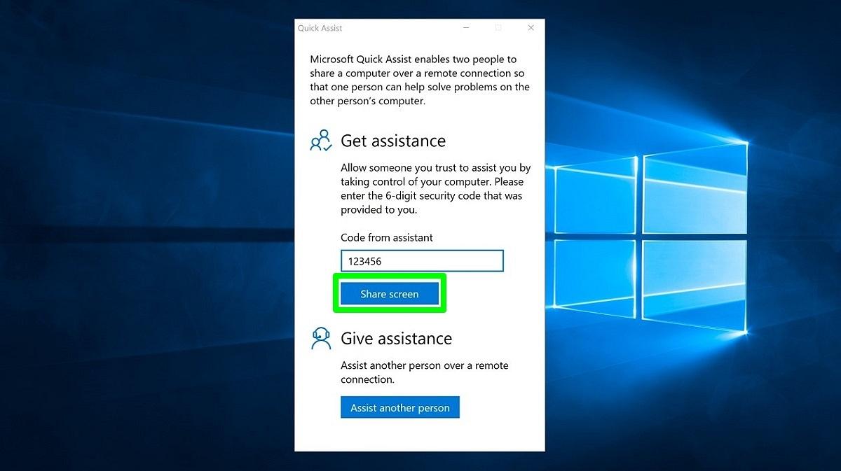 Screenshot of Quick Assist code