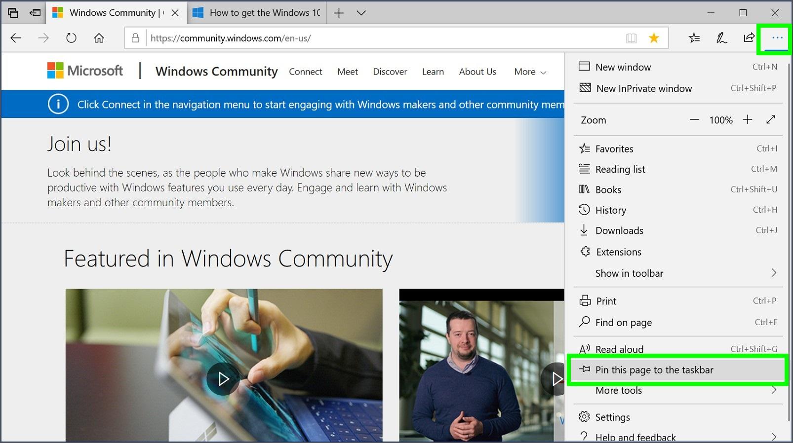 Screenshot of Microsoft Edge settings