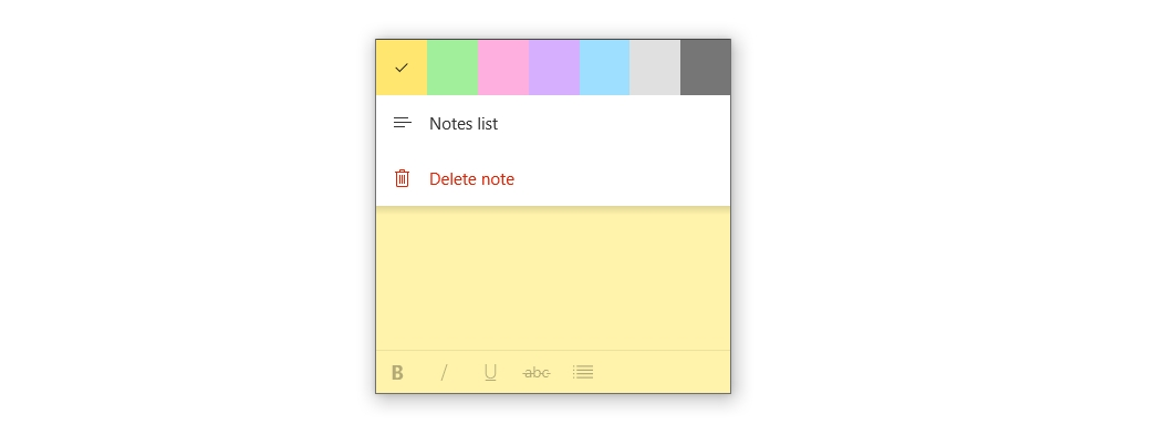 Screenshot of Sticky Notes color flyout