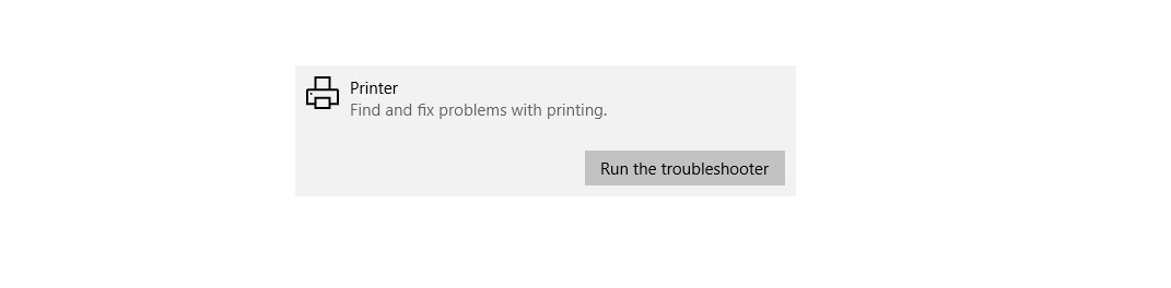 Screenshot of Printer Run the troubleshooter button