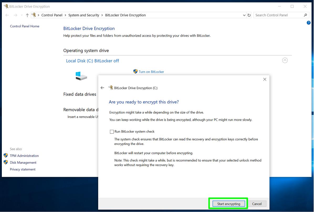 Screenshot of run BitLocker system check
